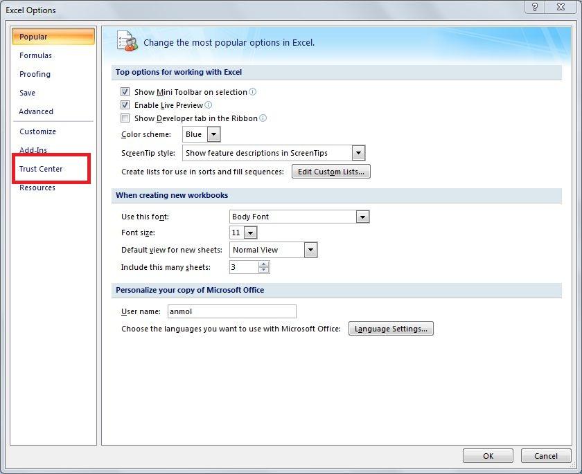 Enabling Macros and ActiveX in Excel   Down Memory lane